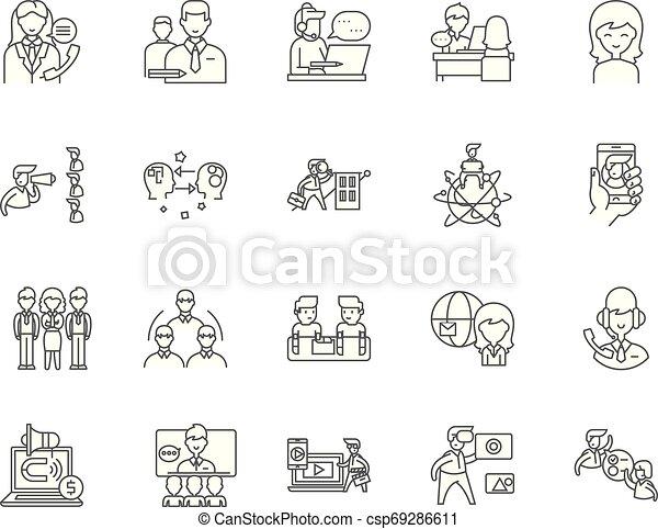 conceito, esboço, negócio, jogo, consultor, ícones, ilustração, vetorial, linha, sinais - csp69286611