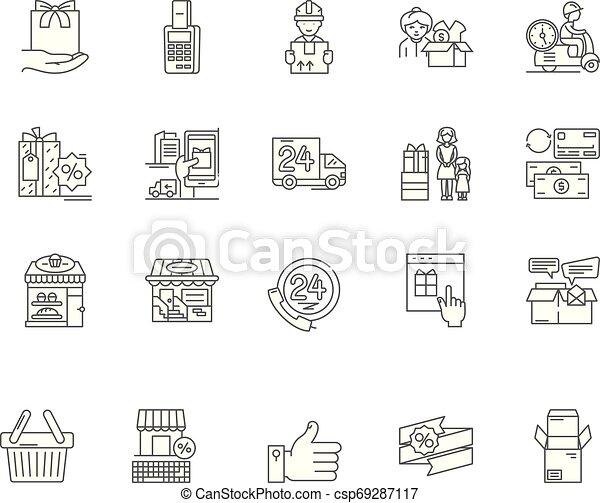 conceito, esboço, serviço, jogo, consumidor, ícones, ilustração, vetorial, linha, sinais - csp69287117
