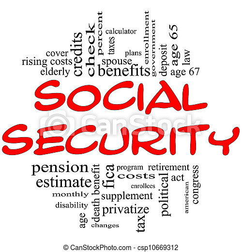 conceito, palavra, &, nuvem preta, segurança social, vermelho - csp10669312