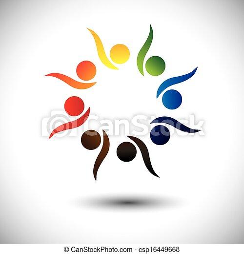 conceito, pessoas, vivamente, aprendizagem, fun., crianças, &, jardim infância, também, círculo, excitado, dançar, coloridos, tocando, gráfico, representa, escola brinca, pessoas, empregados, ou, vetorial, tendo - csp16449668