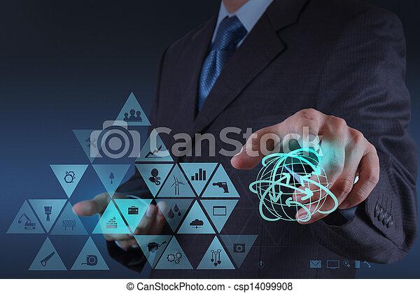 conceito, trabalhando, mostrar, virtual, mão, globalização, interface, homem negócios, tecnologia - csp14099908