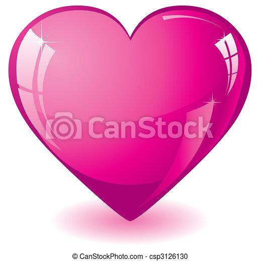 cor-de-rosa, coração, brilhar - csp3126130