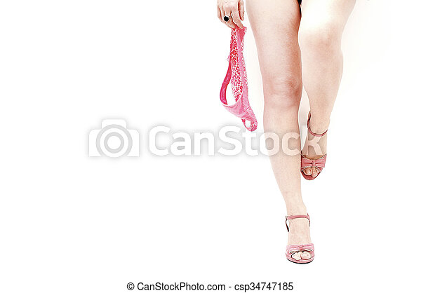 cor-de-rosa, excitado, mulher, panties - csp34747185
