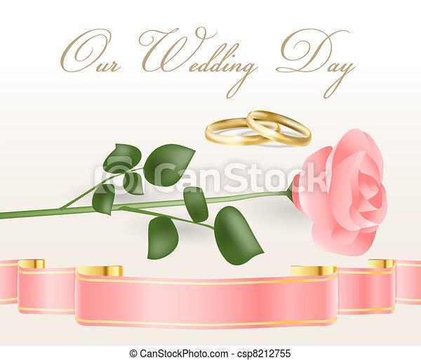cor-de-rosa levantou-se, anéis, casório - csp8212755
