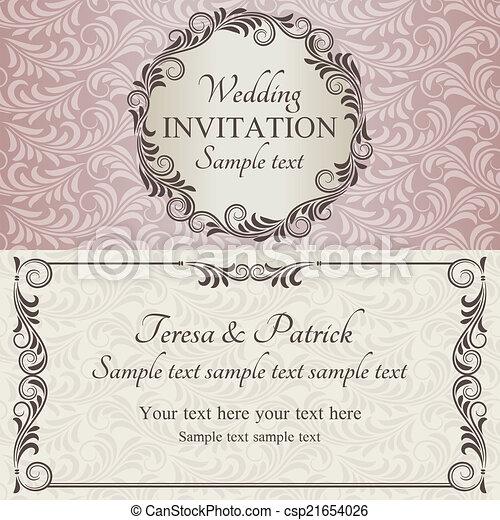 cor-de-rosa, marrom, convite, bege, casório, barroco - csp21654026
