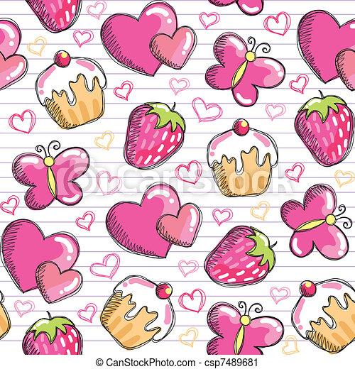 cor-de-rosa, padrão, seamless - csp7489681