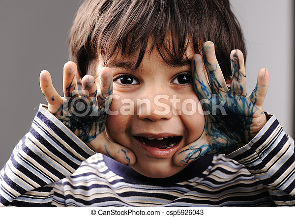 cor, mãos sujas, verde, criança - csp5926043
