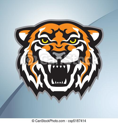 cor tigre, cabeça, mascote - csp5187414