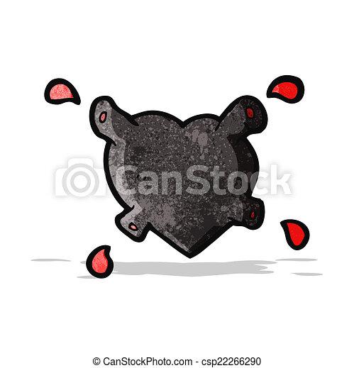 coração, pretas, caricatura - csp22266290