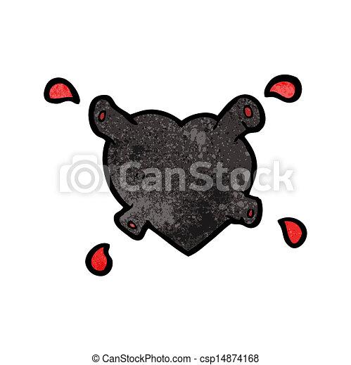 coração, pretas, caricatura - csp14874168