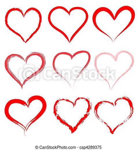 coração, valentines, valentine, vetorial, corações, dia, vermelho - csp4289375