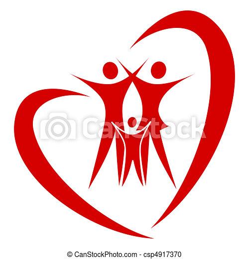 coração, vetorial, família - csp4917370
