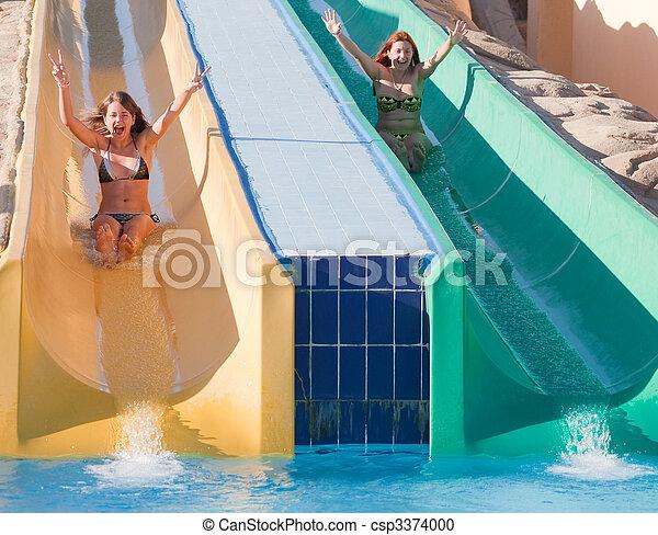 corrediça água, meninas, piscina, natação - csp3374000