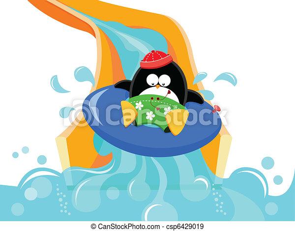 corrediça água, pingüim - csp6429019