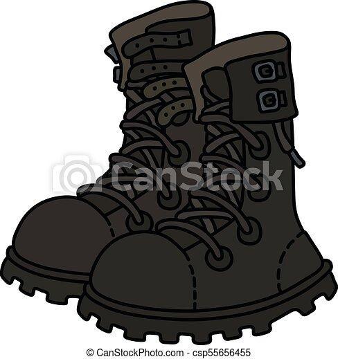 couro, militar, pretas, sapatos - csp55656455