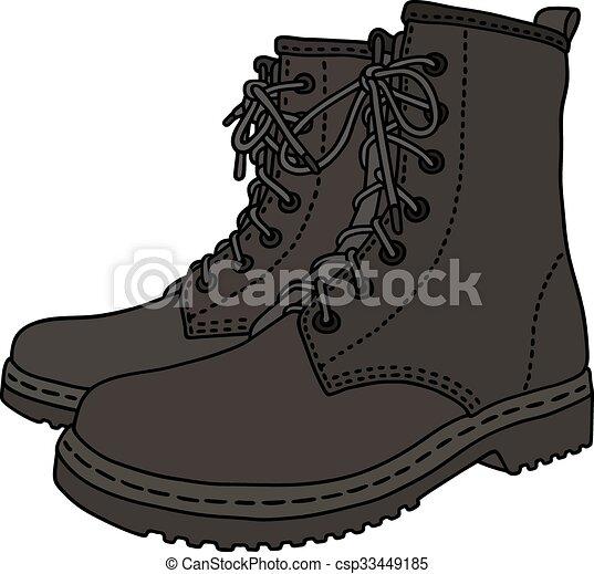 couro, pretas, botas - csp33449185