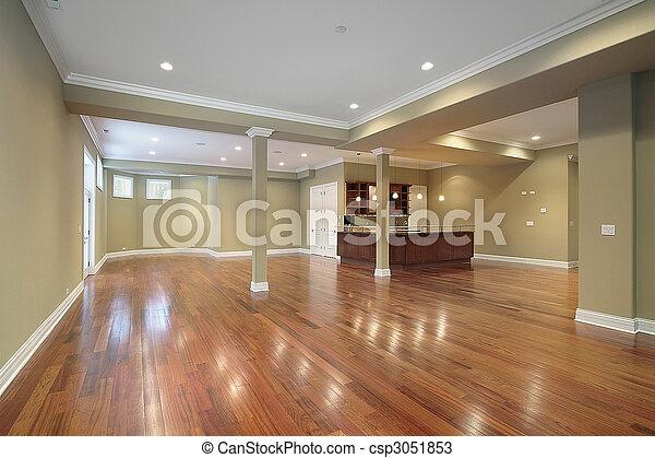 cozinha, construção lar, novo, porão - csp3051853