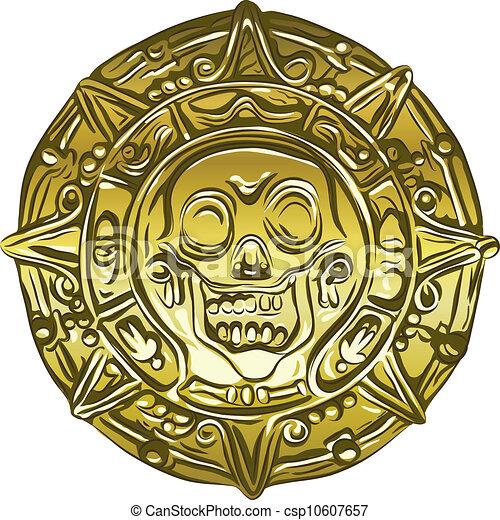 cranio, ouro, dinheiro, vetorial, moeda, pirata - csp10607657