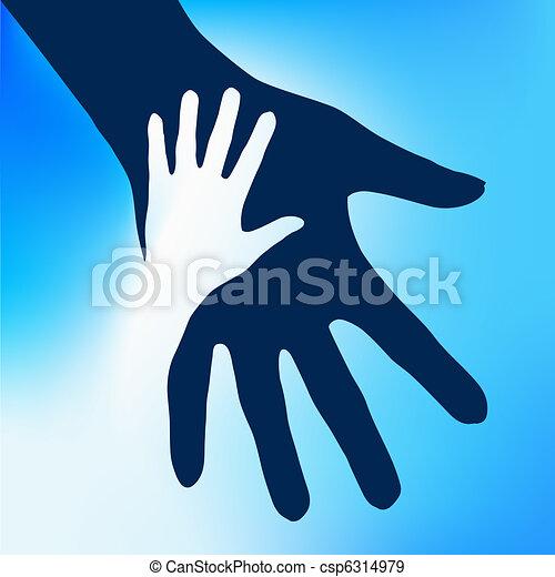 criança, mãos, ajudando - csp6314979