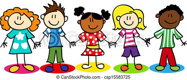 crianças, diversidade, figura vara, étnico - csp15583725