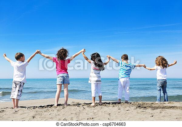 crianças, praia, tocando - csp6704663