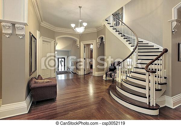 curvado, foyer, escadaria - csp3052119