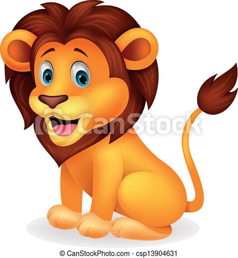 cute, leão, caricatura - csp13904631