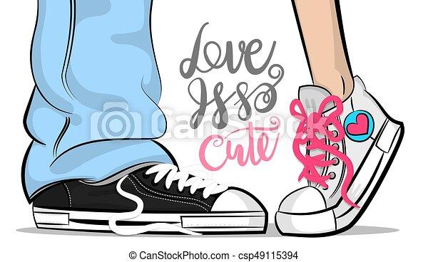 cute, mulher, arte, estouro, sneakers, beijo, amor, homem - csp49115394