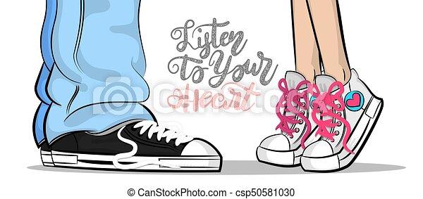 cute, mulher, arte, estouro, sneakers, beijo, amor, homem - csp50581030
