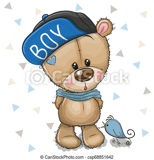 cute, pelúcia, boné, urso, fundo, branca, caricatura - csp68851642