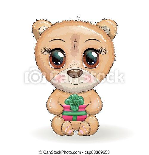 cute, seu, grande, patas brancas, presente, natal, fundo, designs., caricatura, urso, olhos - csp83389653