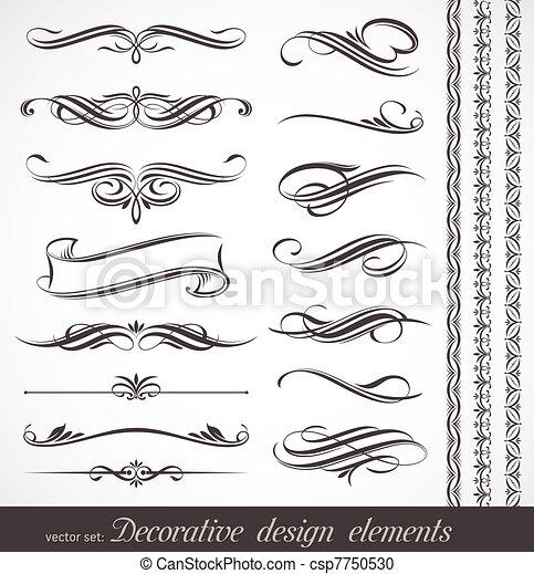 decorativo, decoração, elementos, &, vetorial, desenho, página - csp7750530