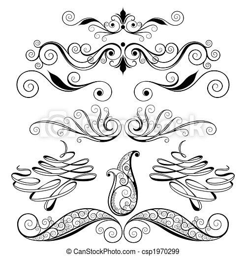 decorativo, elementos florais, desenho - csp1970299