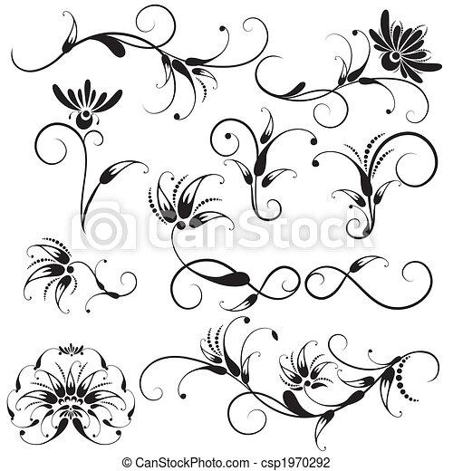 decorativo, elementos florais, desenho - csp1970292