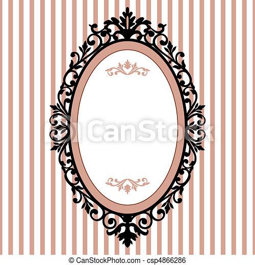 decorativo, frame oval, vindima - csp4866286