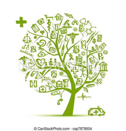 desenho, conceito médico, árvore, seu - csp7879504