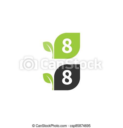 desenho, folha, 8, logotipo, número, conceito, ícone - csp85874695
