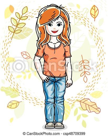 desgastar, cute, pequeno, na moda, vermelho-haired, character., clothes., outono, vetorial, posar, fundo, menina, casual, paisagem, feliz - csp48709399