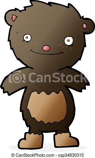 desgastar, urso teddy, pretas, botas, caricatura - csp34830315