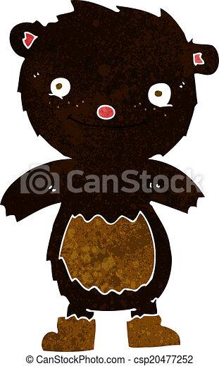 desgastar, urso teddy, pretas, botas, caricatura - csp20477252