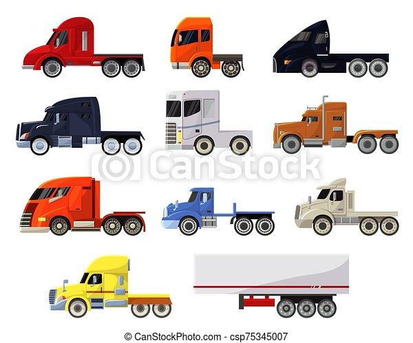 despacho, entrega, transportar, carga, frete, reboque, transporte, vetorial, trucking, isolado, jogo, semi, camião, veículo, semi-caminhão, caminhão transporte, fundo, ilustração, branca - csp75345007