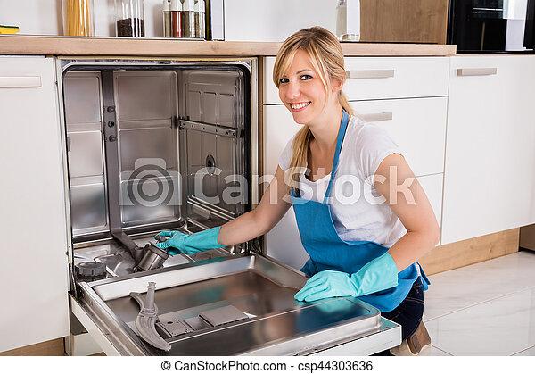 dishwasher, mulher, limpeza, cozinha - csp44303636