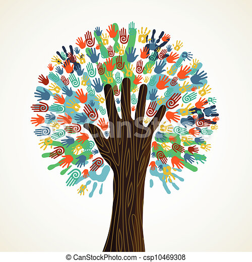 diversidade, árvore, isolado, mãos - csp10469308