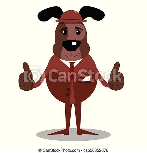 dois, cima, cão, sinal, polegares, fazer, hands. - csp58352876
