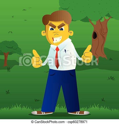 dois, cima, polegares, fazer, sinal, hands., homem - csp60278971