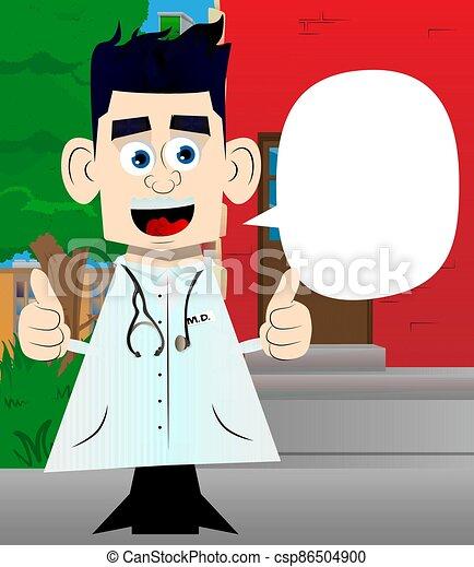 dois, doutor, hands., sinal, fazer, polegares cima - csp86504900