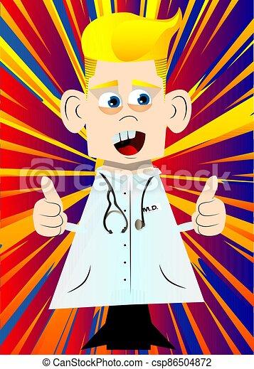 dois, doutor, hands., sinal, fazer, polegares cima - csp86504872