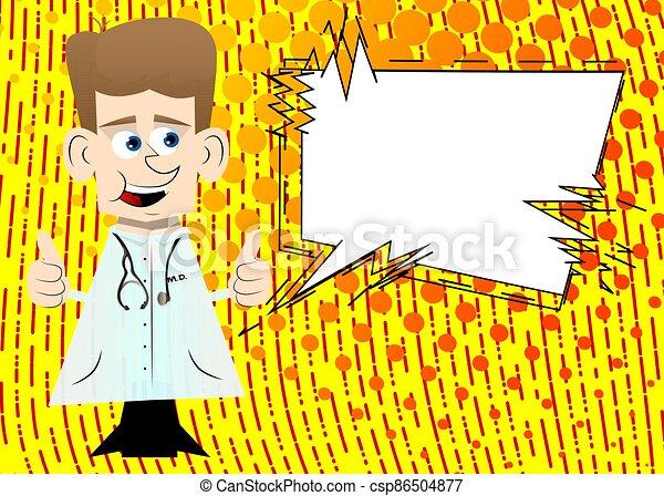 dois, doutor, hands., sinal, fazer, polegares cima - csp86504877