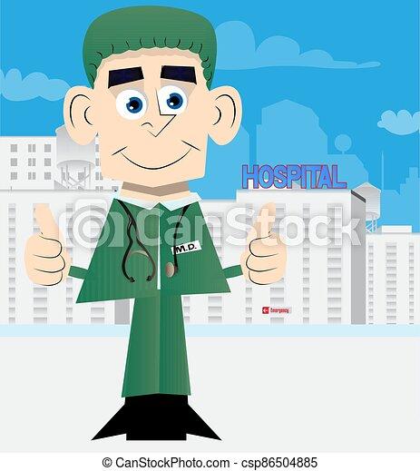 dois, doutor, hands., sinal, fazer, polegares cima - csp86504885