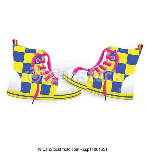 dois, sneakers, amarela - csp11081651